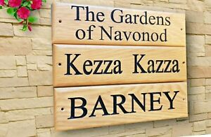 Personalised Oak House Sign Carved Custom Engraved  Wooden Name Plaque Outdoor
