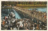 Postcard Crowds on Pier Lucerne Clear Lake Beach California