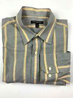 BANANA REPUBLIC Long Sleeve Mens Dress Shirt Striped Size L Grey/Yellow