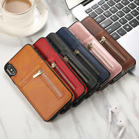 Leather Phone Case Magnetic Zipper Wallet Cover for iPhone 8 6S 7 Plus Xs Max XR