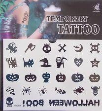Halloween Temporary Body Tattoos Skull Pumpkin Spider Axe Bones Booh Newt Bat