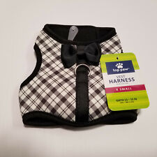 TOP PAW Comfort Vest Harness for Dogs Black Plaid  with Bow New Free Shipping