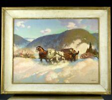 LARGE CANADIAN OIL PAINTING WINTER HORSE LANDSCAPE BY HAROLD W McCREA ARCA OSA