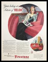 1945 Firestone Interior of Velon Fabric Vintage Print Ad
