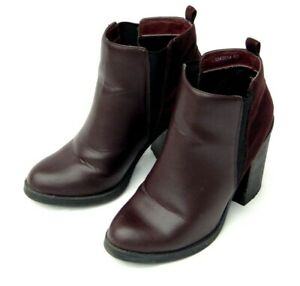 NEW LOOK BURGUNDY FAUX LEATHER HEELED ANKLE BOOT CHELSEA BOOTS UK SIZ5 5 EU 38