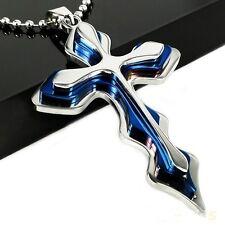Halskette Kreuz silber blau glänzend, rostfreier Stahl massiv MANN Punk Gothic