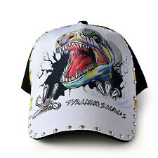 Womens/Mens Dinosaur Tattoo Cap Punk Rock Rivet Hip Hop Adjustable Baseball Hat