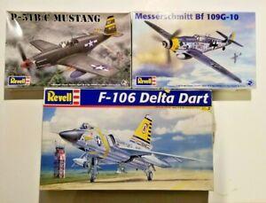 Lot of 3 Revel 1/48 Aircraft Kits -May Not be Complete -P51 / BF109 / Delta Dart