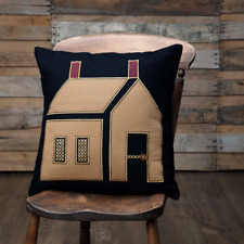 Primitive House Appliqued on Felt w/ Cross Stitch and Button Accent Pillow 18x18