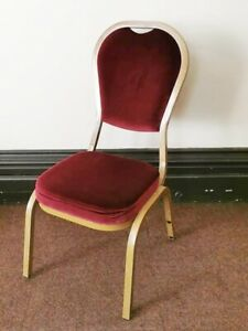 NISBETS LUXURY RED VELOUR BANQUET CONFERENCE DINING CHAIR STACKABLE