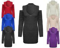 New Ladies Womens Knitted Cold Shoulder VNeck Jumper Top Sweater Short Dress