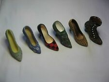 6 MINIATURE  FASHION RESIN SHOES: 5 HIGH HEELED AND ONE BOOT