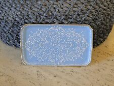Le Tallec Procelain Pin or Dresser Tray c. 1955 Hand Painted Blue Lace
