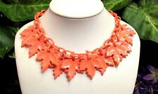 "Vintage Art Deco Salmon Pink Dangling ""Leaves"" Celluloid Necklace All Original!!"
