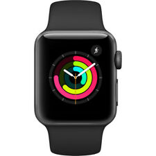 NEW APPLE WATCH SERIES 3 38MM SPACE GRAY ALUMINUM CASE BLACK SPORT BAND GPS