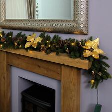 Festive Lights 1.8m Battery Power Pre Lit LED Christmas Gold Poinsettia Garland