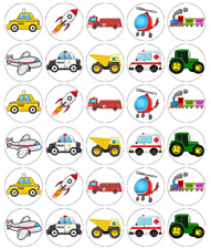 30 x Vehicle Cars Trains Cupcake Toppers Edible Wafer Paper Fairy Cake Toppers