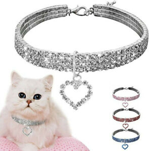 Pet Necklace Collar Puppy Cat Crystal Rhinestone Collar with Heart Pendant