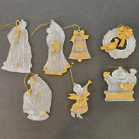 Lot Of 7 Frosted Plastic Ornaments With Gold Trim
