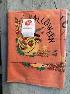 Unused ca.1940's HALLOWEEN PARTY SET: Paper 1-Table Cover & 4-Napkins SEALED!!