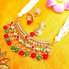 Green Maroon Bead Kundan Pearl Neccklace Jhumki Earrings/Bollywood Kundan Set