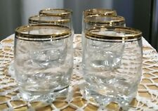 Set Of 6 Gold Rim Cocktail Highball Glasses With Double Gold Rim Design