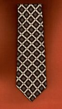 "Guess White Brown Rust Geometric Tie 100% Silk 57"" x 4"" New"
