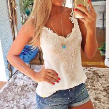 Fashion Women Lace Crop Tops V Neck Camisole Sleeveless Tank Blouse Shirt White