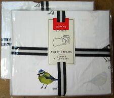 JOULES Oxford Pillowcase PAIR New GREAT BRITISH BIRDS CHALK
