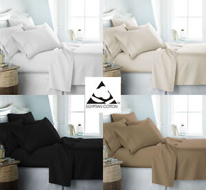 LUXURY 100% EGYPTIAN COTTON EXTRA DEEP FITTED SHEETS 300 400 500 THREAD COUNT