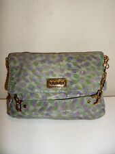 f964ea8de830 TORY BURCH Chain Flap Top PYTHON Embossed Purple Green Leather Shoulder Bag  EUC!