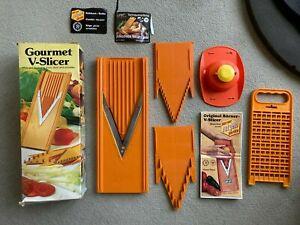 Original Vintage Boxed Gourmet Orange Borner V-Slicer and Combi-Grater Unused