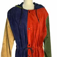 Vintage 80s Color Block Suede Leather Jacket S Oversized Hip Hop