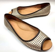 LL Bean Gold Peep Toe Perforated Lattice Cut Leather Flats Slip On Shoe Women 7M