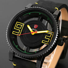 Megamouth Shark Mens Black Leather Hollow Dial Sport Military Quartz Watch+Box