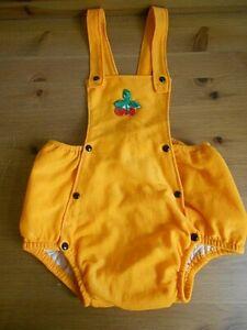 Wunderschöne orange Windelhose Gummihose zum knöpfen & mit Latz SELTEN um 1970