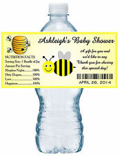 20 BUMBLE BEE BABY SHOWER WATER BOTTLE LABELS Waterproof Ink ~ Glossy