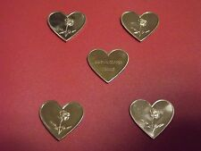 "LOT OF (5) X 1 GRAMS .999 FINE COPPER ""HEART"" W/ A ROSE BULLION"