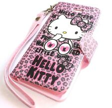 iPhone 5 5S SE - HELLO KITTY LEATHER WALLET FLIP POUCH CASE COVER PINK LEOPARD