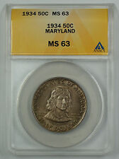 1934 Maryland Commemorative Silver Half Dollar Coin ANACS MS 63 (Better) D-Toned