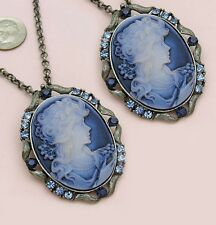 Antique VTG Style Brass Blue Rhinestone Designer Cameo Necklace Chain Pendant 1b