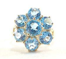 10k Solid Gold Blue Topaz Cocktail Ring 7 Brilliant Blue Gemstones Free Ship