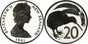 New Zealand: 20 Cents copper-nickel 1981 - Proof