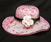 Block Crystal Hand Blown Pink Confetti Art Glass Hat Bonnet Bowl with Flower