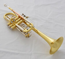 Prof Gold Lacq C Key Trumpet Horn Monel Valves Cupronickel Tuning Pipe With Case