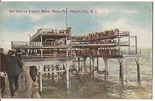 NET HAUL Young's Million Dollar Pier ATLANTIC CITY NJ Postcard Fishing Fishermen