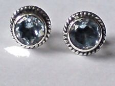STERLING SILVER 8mm ROUND STUD EARRINGS with BLUE TOPAZ FACETED STONES £10.50nwt