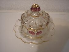 EAPG Northwood Cherry Cable Covered Butter Dish 1906 Northwood Marked