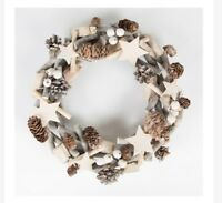 BRAND NEW Sass & Belle Icy white stars Wooden Christmas Wreath indoor  RRP £16