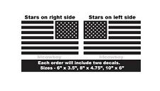 Set of 2 Distressed USA Flags Vinyl Decals - American grunge torn 4x4 Jeep